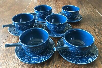 Tams Pottery: Full Set Of 6 Vintage Romany Blue Soup Bowls + Saucers, C1970s • 22£