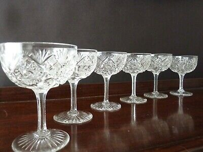 6 Antique Style Cut Crystal Champagne Glasses  • 100£