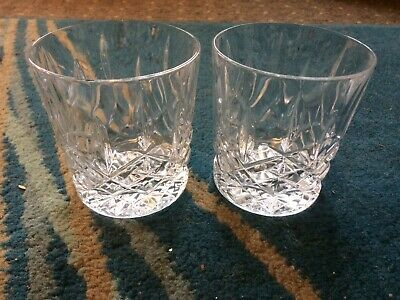 Vintage Pair Of Cut Glass/Crystal Tumblers Whiskey Glasses • 10.99£