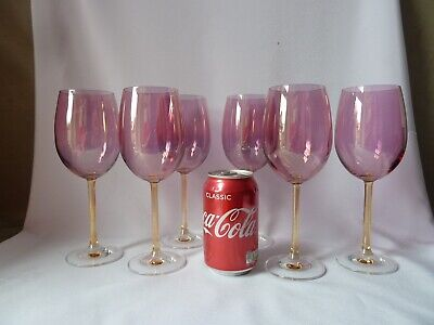 6 Pink Water/Wine Glasses, Not Signed Bohemia?, H21,5cm (7 ) • 35£