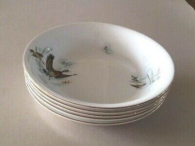 Vintage Alfred Meakin 'Wildfowl' Flying Wild Ducks Soup Cereal Bowls X 5 • 12.99£