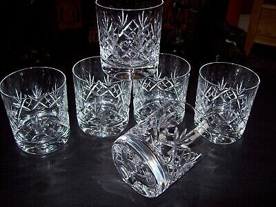 6 X Royal Doulton  Crystal  Georgian Double Old Fashioned Whisky Glasses • 89.99£