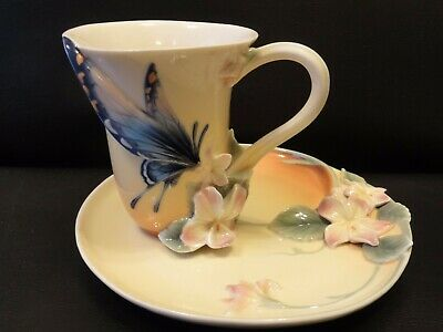 Franz Porcelain Red Spotted Purple Butterfly Cup & Saucer. F01670.  • 70£
