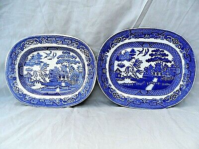 2 Old English Made Blue & White Willow Pattern Meat Plates 12  X 10  Both Vgc • 19.99£