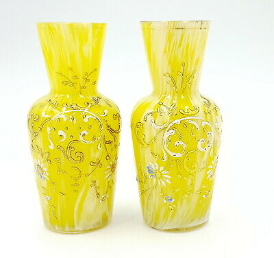 Antique Bohemian Yellow Glass Vases, Pair , Enameled  • 15£