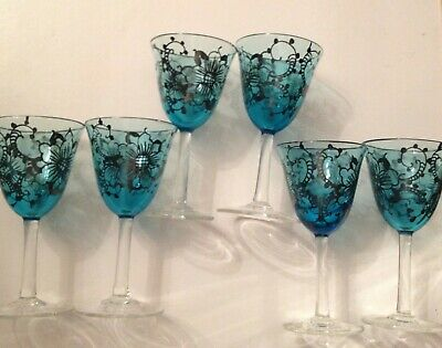 Pretty Set Of 6 Decorative Blue  Port/sherry Glasses - Lovely Condition • 30£