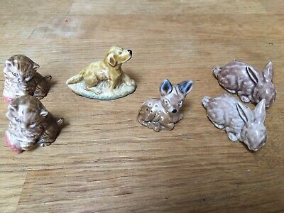Wade Whimsies (Set 1 - 1971) - Fawn / Rabbits X 2 / Kitten X 2 / Spaniel X 2 • 35£