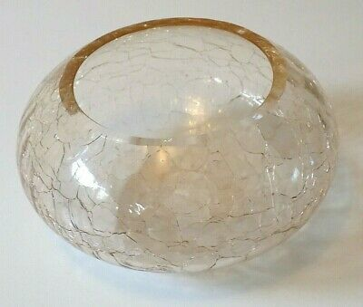 Crackle Glass Bowl Clear 7 1/2cm High 12cm Wide • 4.99£