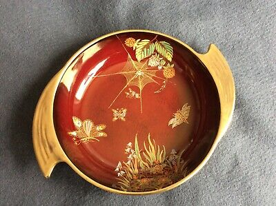 Vintage Carlton Ware Rouge Royale Hand Painted Butterflies Dish Bowl • 42£