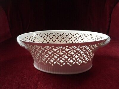 Leeds Pottery Creamware Oval Shaped Trellis Style Dish With Rope Twist Handles • 19.99£