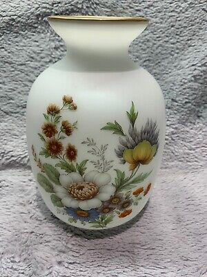 Vintage Medium Opaline Vase With Hand Painted Floral Design With Gold Detailing  • 21.95£