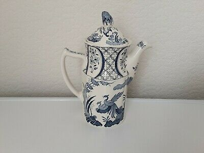 Antique Old Chelsea Furnivals Limited Pottery Blue & White Coffee Pot Reg#647812 • 45£