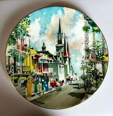 Royal Doulton Display Plate - French Quarter (New Orleans) Dong Kingman - 26 Cm • 10£