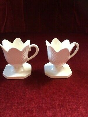 Pair Of Creamware Porcelain Egg Cups, Flower Design With Handles  • 19.99£