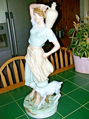 ROYAL DUX FABULOUS 2 Feet TALL FIGURE OF WATER CARRIER WITH A GOAT AT HER SIDE • 275£
