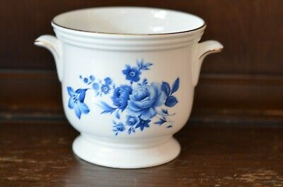 CROWN STAFFORDSHIRE Lovely White And Blue Plant Pot Planter - 10cm Tall • 13.50£