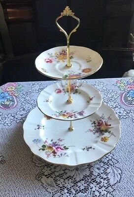 Pretty Royal Crown Derby Derby Posies Bone China 3 Tier Stand • 21.99£