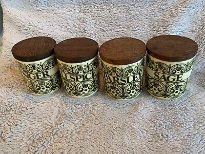 Vintage Hornsea Spice Pots , All Spice, Parsley, Ginger & Sage • 19.95£