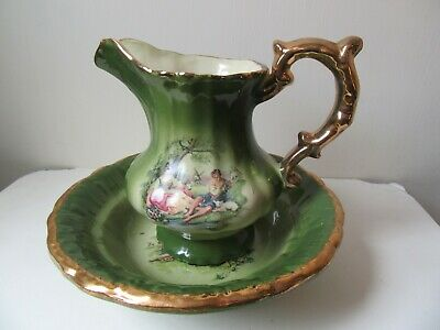 KLM Staffordshire Green Washbowl And Jug With Classical Scene. • 9.99£