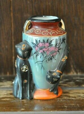 Lovely Vintage Small Black Cat Posy Vase - 10cm Tall  • 9£