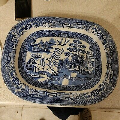 Antique Large Old Willow Serving Platter Blue White Plate Chinese China Spode • 59.99£