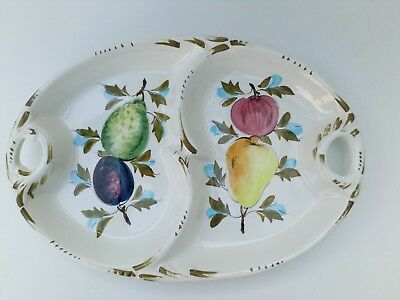 Handmade And Hand Painted Ceramic Oval Serving Dish Fruit Patterned , Italian • 12£