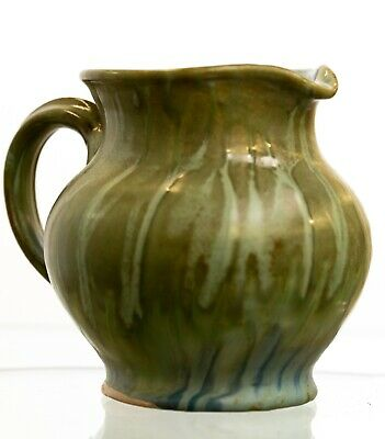 Antique Vintage Studio Art Pottery Jug With Dripped Green Glaze - Signed • 65£