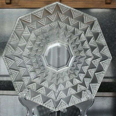 French Verlys Glass Art Deco Octagonal 10.5  Bowl With Geometric Pattern • 145£