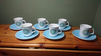 Set 6 Vintage J G Meakin Aztec Coffee Cups And Saucers  • 15.99£