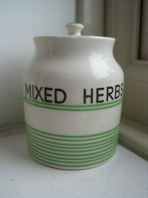 Vintage Sadler Kleen Kitchen Ware Pottery Green Banded Mixed Herbs Spice Jar • 15.99£