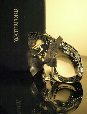 Waterford Crystal Cat Looking Down Sculpture/ Figurine Mint In Box • 49£