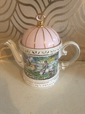 Lovely Sadler  Sporting Scenes Of The 18th Century Hinting Teapot • 14.99£