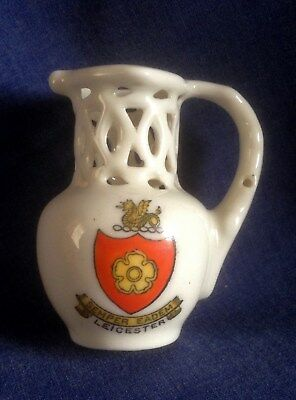 Crested China. Leicester. Puzzle Jug. 'E C Spall. Gallowtree Gate Leicester'. • 3£