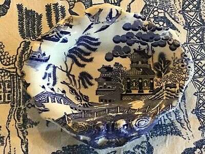 Antique Willow Pattern Soap Dish Blue And White Unusual! • 15£