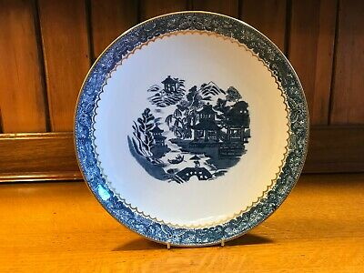 Antique Art Nouveau Crown Staffordshie Blue & White  Willow  Gilded Cake Plate • 6£