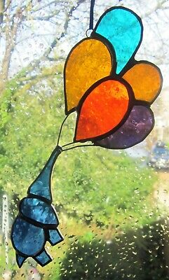 Stained Glass Blue Elephant With Balloons Suncather | Window Decoration • 19.50£