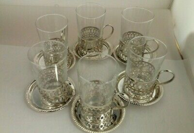 6 X Glass Tea/Coffee Cups With Silver Plated Holders & Saucers  Y-0445-MY-W27 • 10.50£