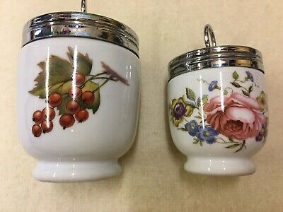 2 ROYAL WORCESTER Unused EGG CODDLERS 4 & 3.5  Perfect Condition Evesham & Roses • 7.50£