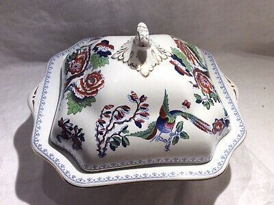 Vintage Square,lidded Tureen/dish With Floral & Bird Design On White Background • 6.25£