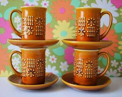 Vintage Secla Portugal  Atomic Modernist Space Age Small 60s 70s Mugs Saucers • 15£