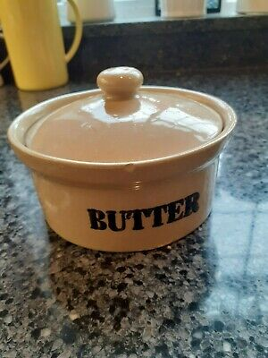 Glazed, Lidded Butter Dish, Pearsons Of Chesterfield With BUTTER Printed On Side • 5£