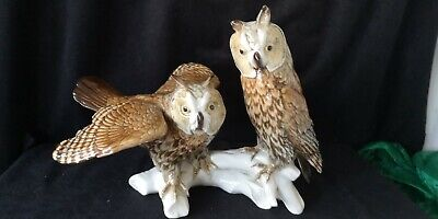 Karl Ens Porcelain Birds Pair Of Large Long-Eared Owl's No 7664. • 144.95£