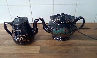 Vintage Black Floral Teapot Hand Painted & Coffee Pot With Metal Lid • 3.50£