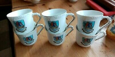 Rare Set Of 6 Tenterden Crested Ware Cups • 9.99£
