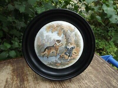 Antique English Pot Lid  Boy With Dog  19th Century Wooden Frame • 24.99£