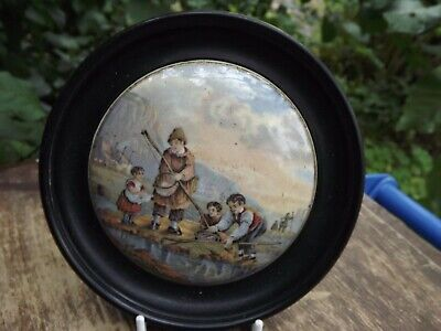 Antique English Pot Lid  The Shrimpers  19th Century Wooden Frame • 24.99£