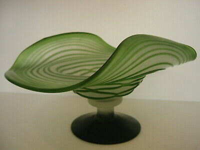 Unusual Vintage Green Trailed Glass Footed Comport Bowl • 35£