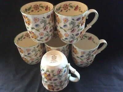A Set Of 6 Finest Reproduction  Minton Mugs In Green Haddon Hall Chintz Design. • 29.95£