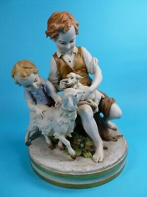 Beautiful Capodimonte Figure Of Boys Playing With Sheep By Benacchio- Perfect!  • 50£