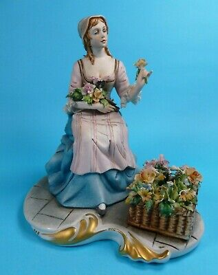 Capodimonte Figure Of Lady Flower Seller - By Ipa  • 50£